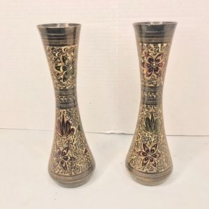 Brass Edged Painted Poinsettias Vases set 2